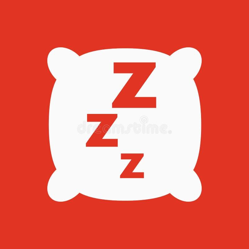 El icono de la almohada Amortiguador y sueño, durmiendo, hotel, símbolo del parador plano ilustración del vector