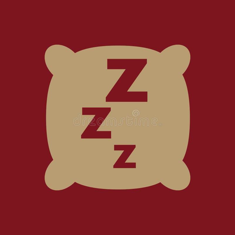 El icono de la almohada Amortiguador y sueño, durmiendo, hotel, símbolo del parador plano stock de ilustración