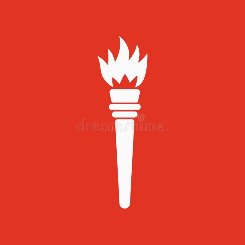 El icono de la antorcha Símbolo de la antorcha plano ilustración del vector