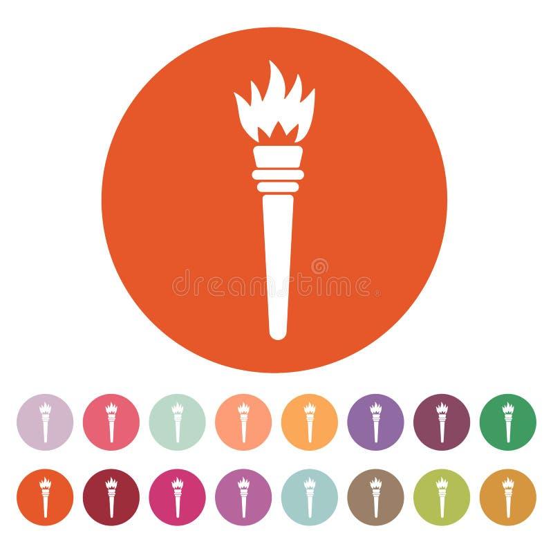 El icono de la antorcha Símbolo de la antorcha plano stock de ilustración