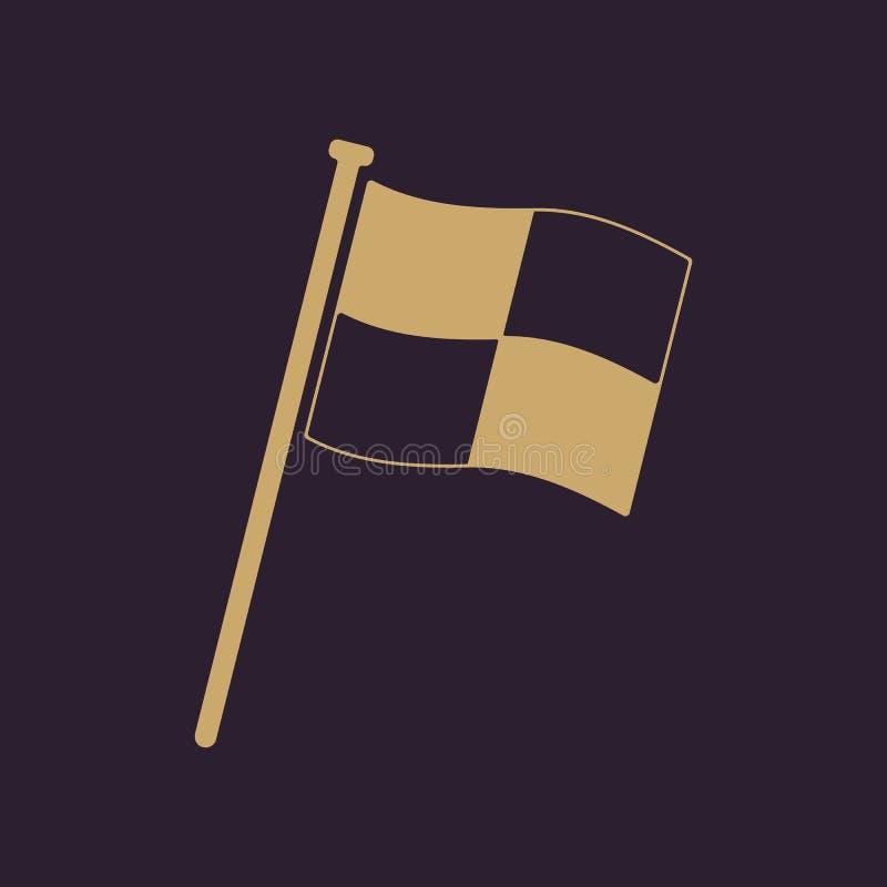 El icono de la bandera de la raza Símbolo del final plano ilustración del vector