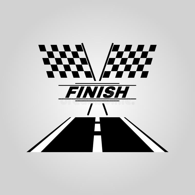 El icono de la bandera de la raza Símbolo del final plano stock de ilustración