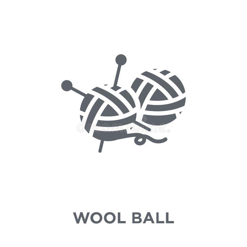 El icono de la bola de las lanas de cose la colección stock de ilustración