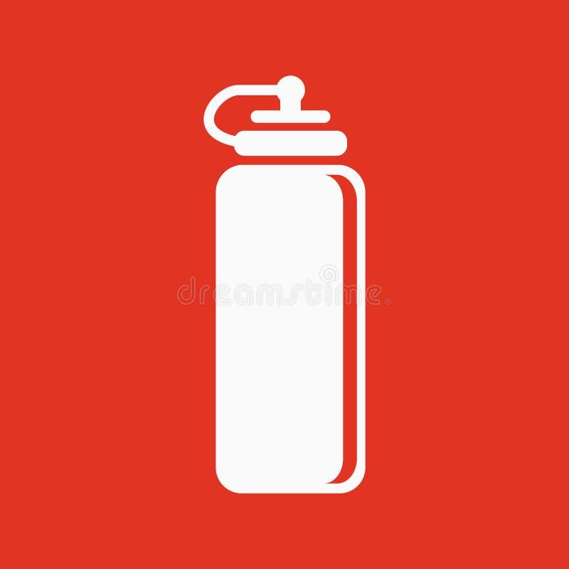 El icono de la botella de agua de los deportes Símbolo de la botella plano stock de ilustración