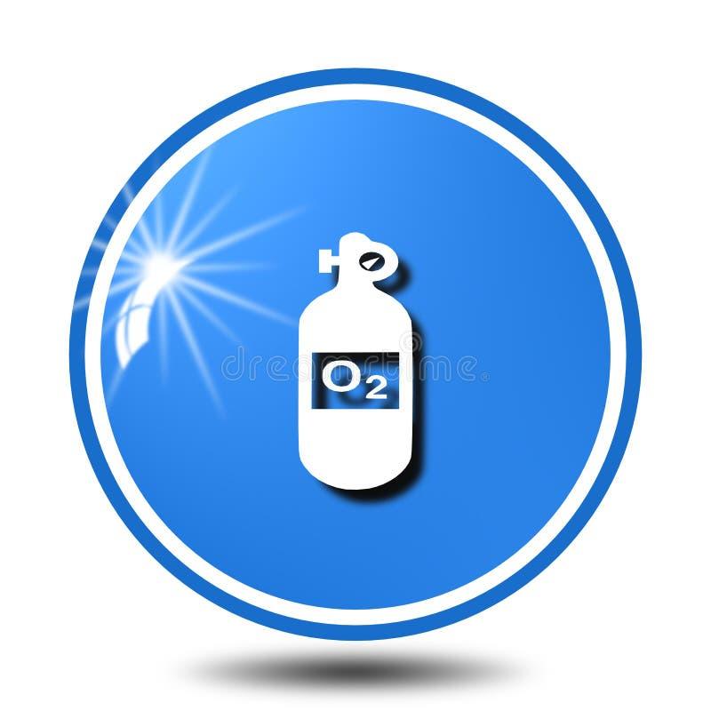 El icono de la botella de oxígeno, canta, ejemplo stock de ilustración