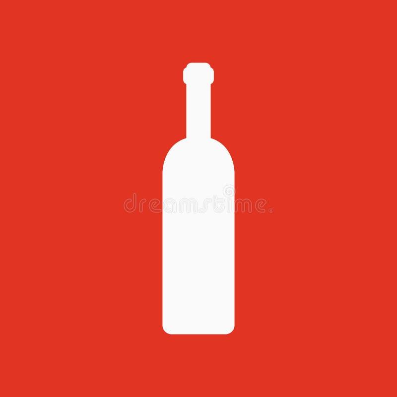 El icono de la botella de vino Símbolo de la botella plano stock de ilustración