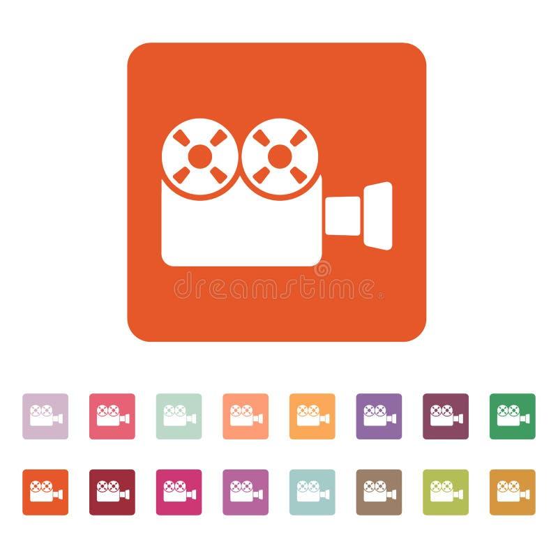 El icono de la cámara de vídeo Símbolo de la videocámara plano stock de ilustración
