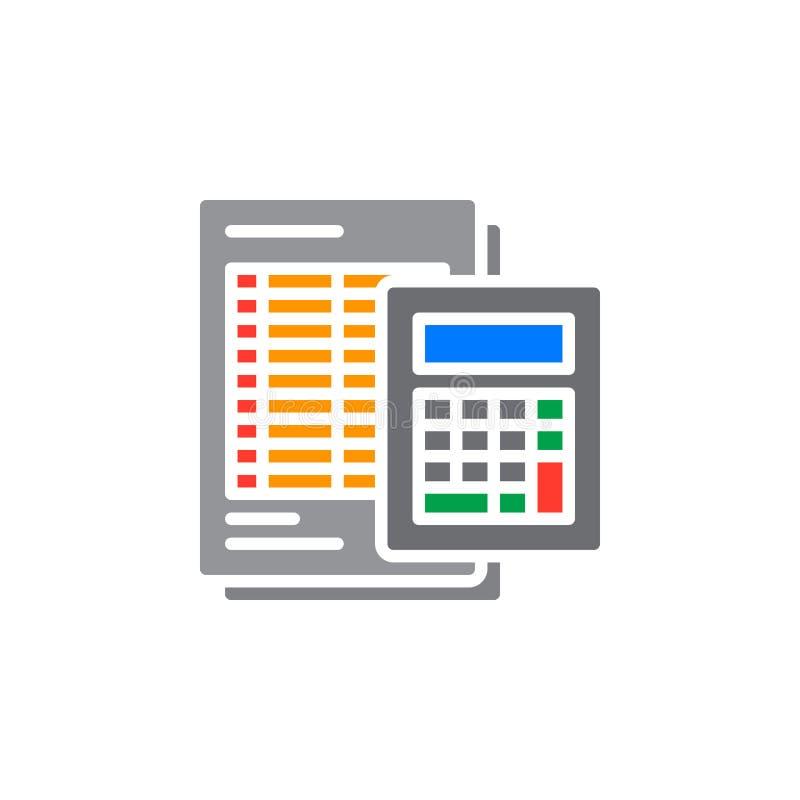 El icono de la calculadora y de la hoja vector, muestra plana llenada, pictograma colorido sólido aislado en blanco ilustración del vector