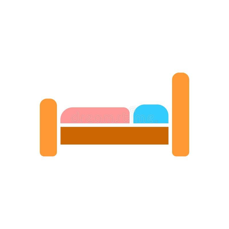El icono de la cama Símbolo del hotel Ejemplo plano del vector libre illustration