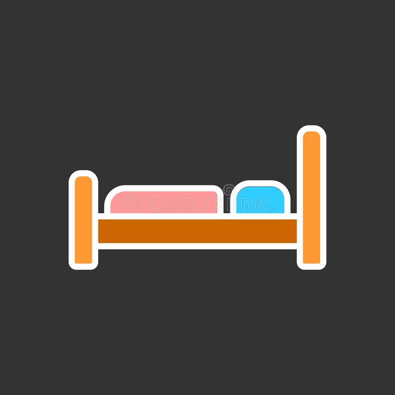 El icono de la cama Símbolo del hotel Ejemplo plano del vector ilustración del vector