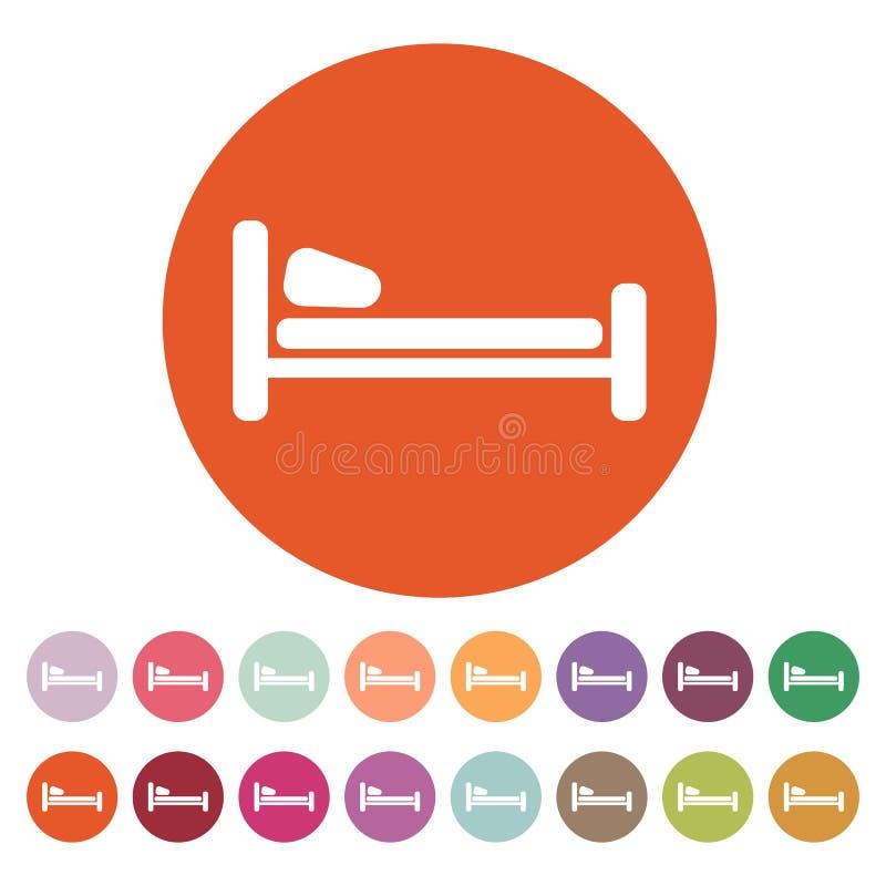 El icono de la cama Símbolo del hotel plano libre illustration