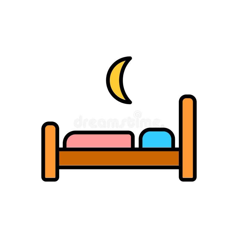 El icono de la cama Símbolo del hotel restroom Ejemplo plano del vector stock de ilustración