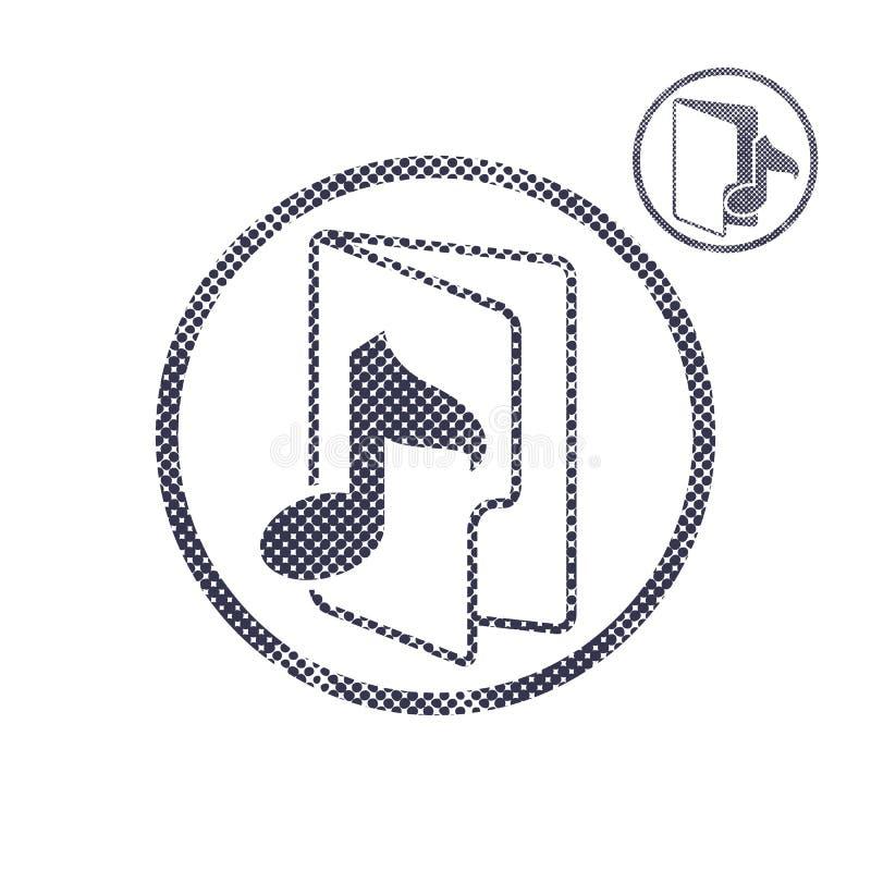 El icono de la carpeta de la música con los puntos de semitono imprime textura stock de ilustración
