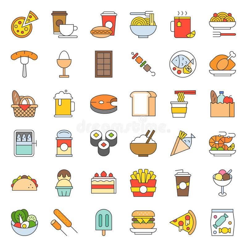 El icono de la comida y de la bebida, concepto de la gastronomía llenó el esquema libre illustration