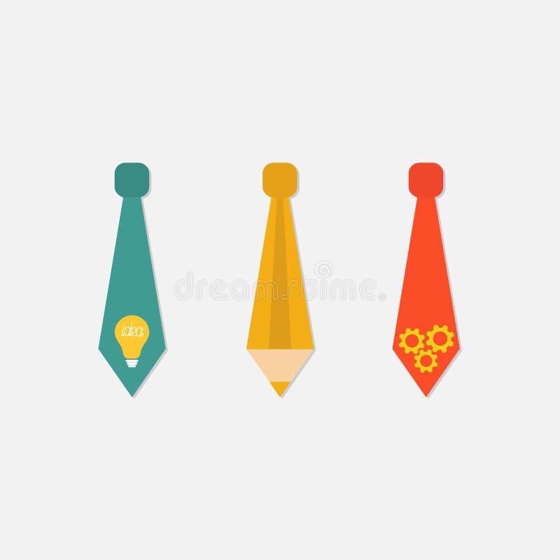 El icono de la corbata del hombre de negocios fijó con la bombilla, lápiz, rueda Concepto de la idea Diseño plano aislado stock de ilustración