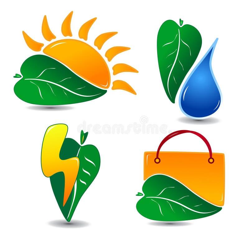 El icono de la ecología fijó uno stock de ilustración