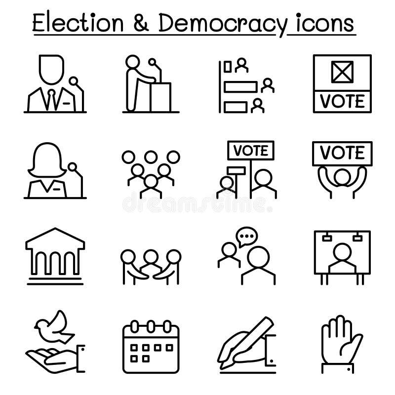 El icono de la elección y de la democracia fijó en la línea estilo fina stock de ilustración