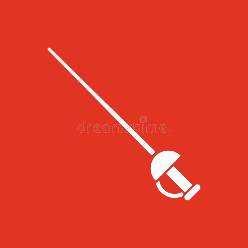 El icono de la espada Símbolo de la espada plano stock de ilustración