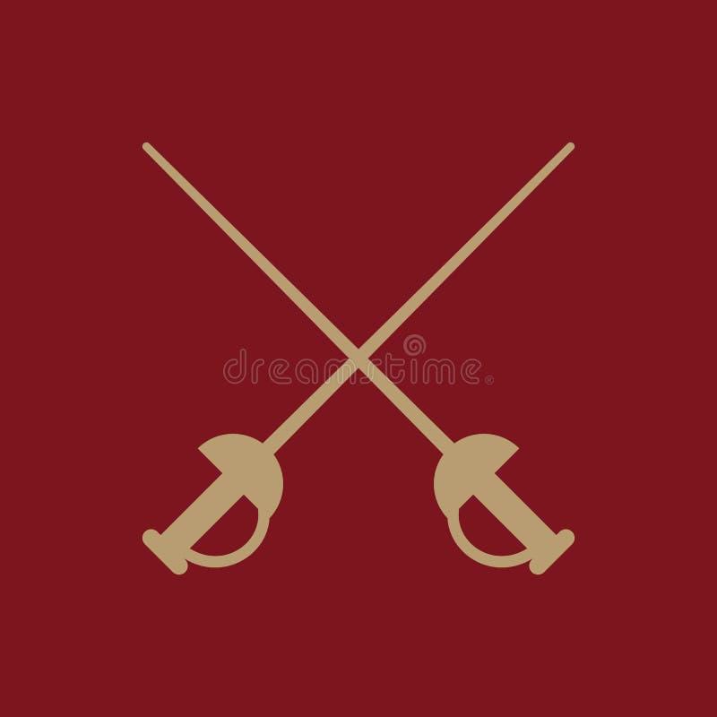 El icono de la espada Símbolo de la espada plano ilustración del vector