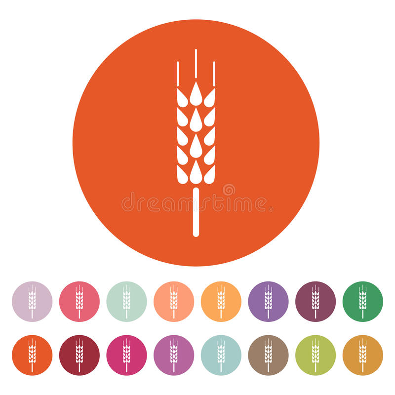 El icono de la espiga Símbolo del trigo plano ilustración del vector