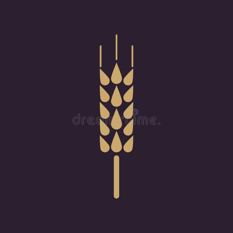 El icono de la espiga Símbolo del trigo plano stock de ilustración