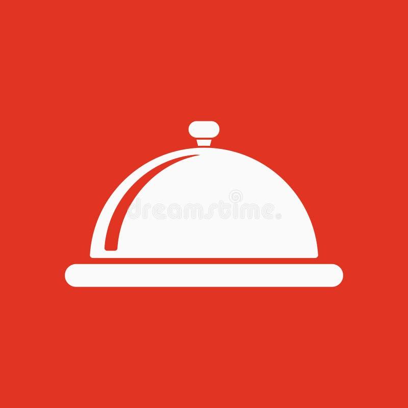 El icono de la estación de la bandeja Desayuno y almuerzo, cena, símbolo del restaurante plano ilustración del vector