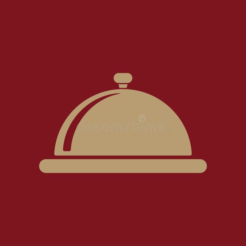 El icono de la estación de la bandeja Desayuno y almuerzo, cena, símbolo del restaurante plano stock de ilustración