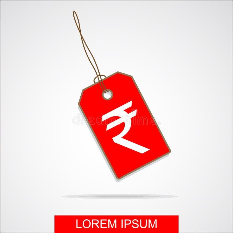 El icono de la etiqueta de la venta con la rupia india firma adentro el fondo blanco Ilustración del vector ilustración del vector