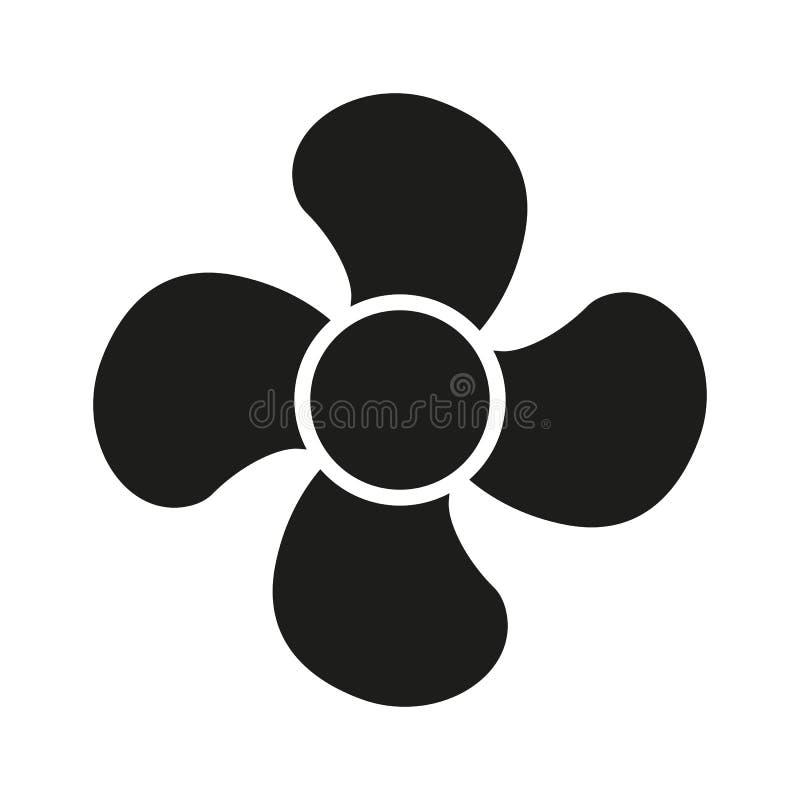 El icono de la fan fan, ventilador, ventilador, símbolo del propulsor plano ilustración del vector