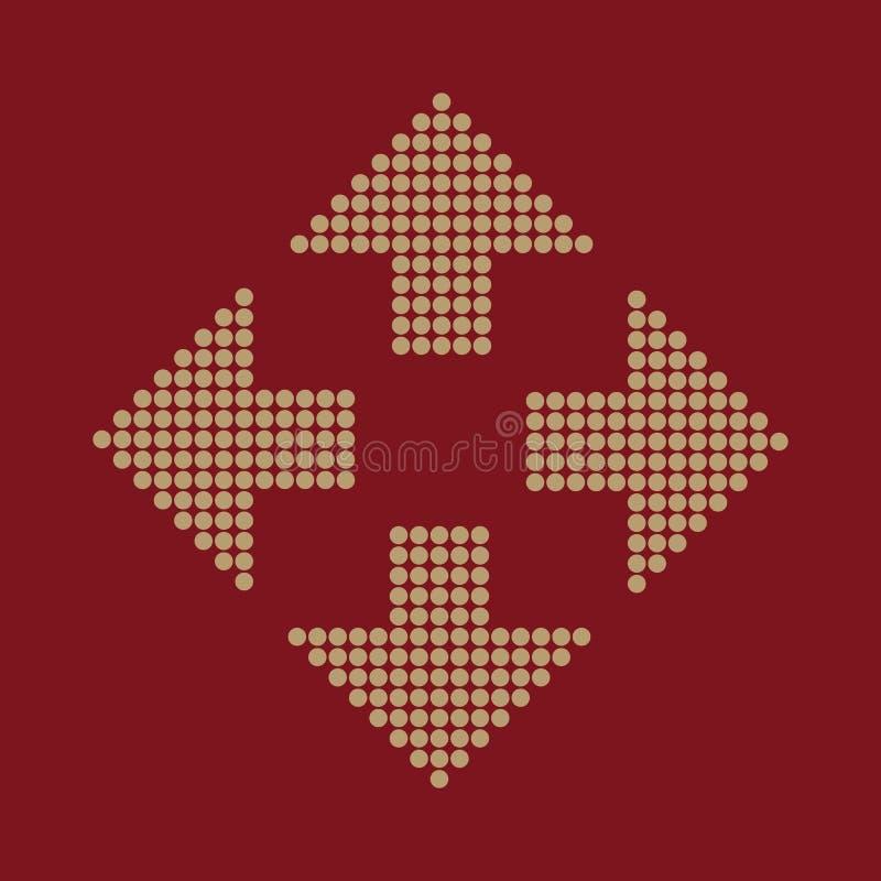 El icono de la flecha Navegación y colocación, símbolo de la dirección plano ilustración del vector