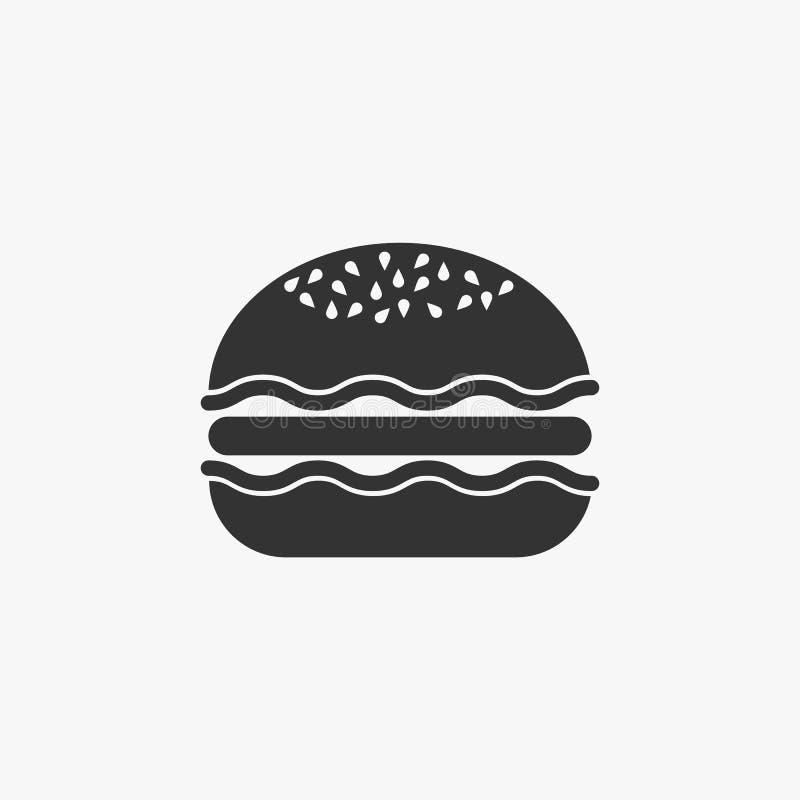 El icono de la hamburguesa, comida, come stock de ilustración