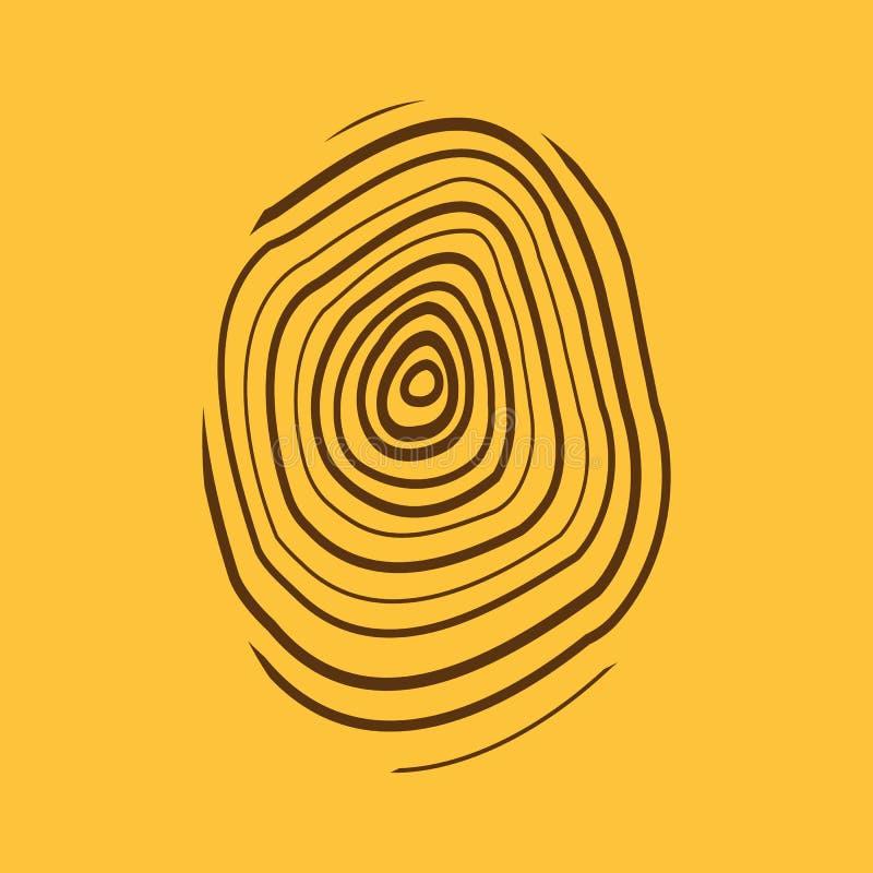 El icono de la huella dactilar Símbolo de la huella dactilar plano stock de ilustración