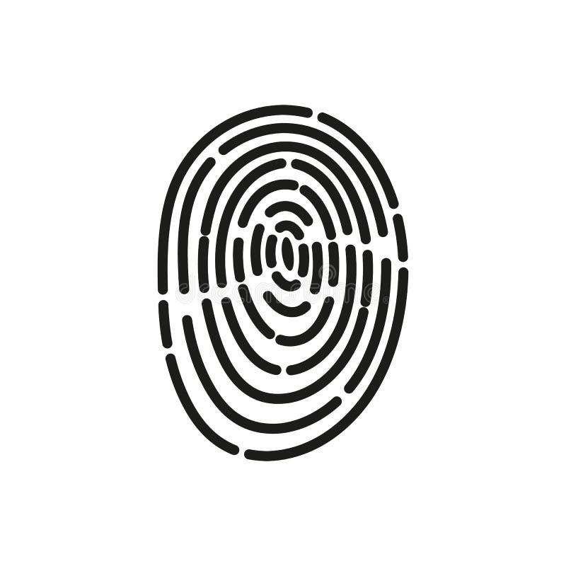 El icono de la huella dactilar Símbolo de la identificación plano ilustración del vector