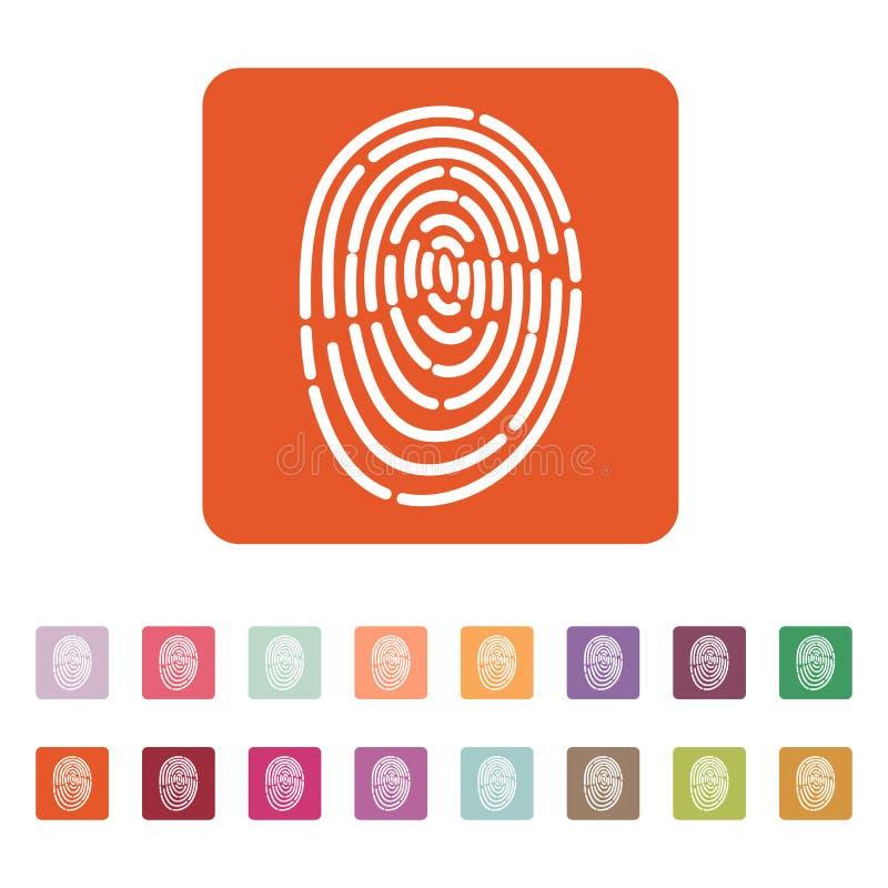 El icono de la huella dactilar Símbolo de la identificación plano libre illustration