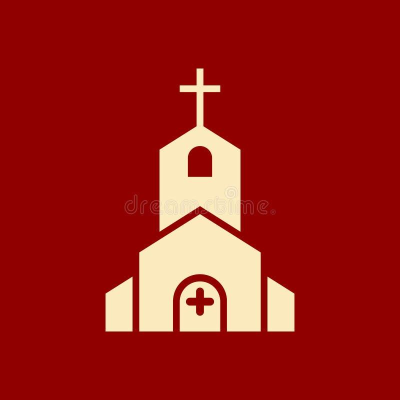 El icono de la iglesia, edificio de la religión, cristiano, icono del templo del cristianismo con añade la muestra Icono de la ig libre illustration