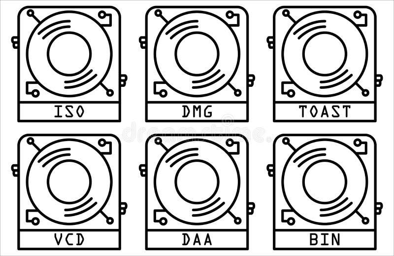 El icono de la imagen del disco fijó la línea estilo del diseño libre illustration