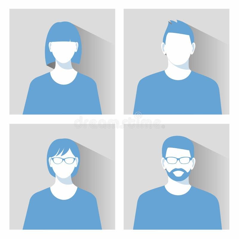 El icono de la imagen del perfil de Avatar fijó incluir el varón y a la hembra stock de ilustración
