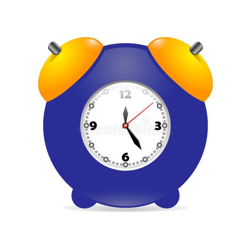 El icono de la imagen del vector para el web y el ordenador diseñan el azul vivo del despertador del reloj con el dial blanco con stock de ilustración