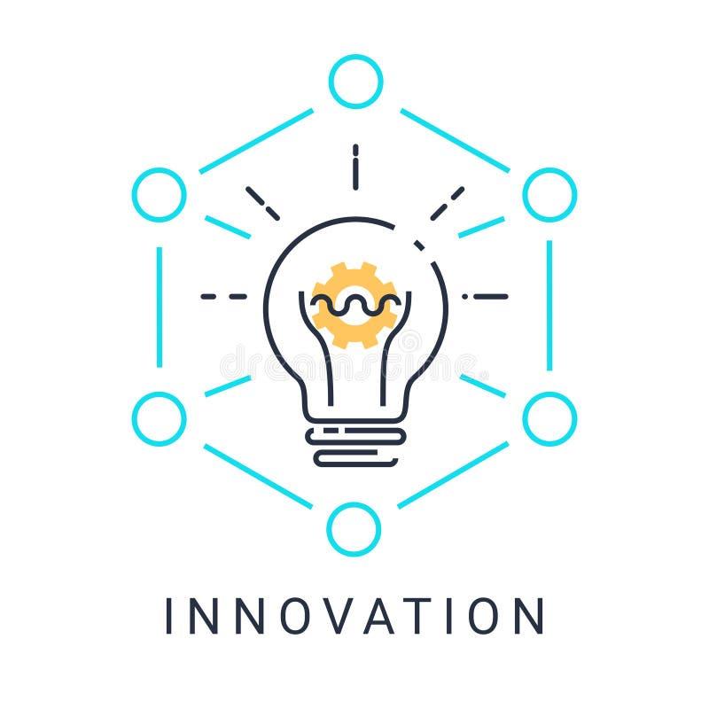 El icono de la innovación con la bombilla y el engranaje en el fondo blanco con el ejemplo diseñan Vector ilustración del vector