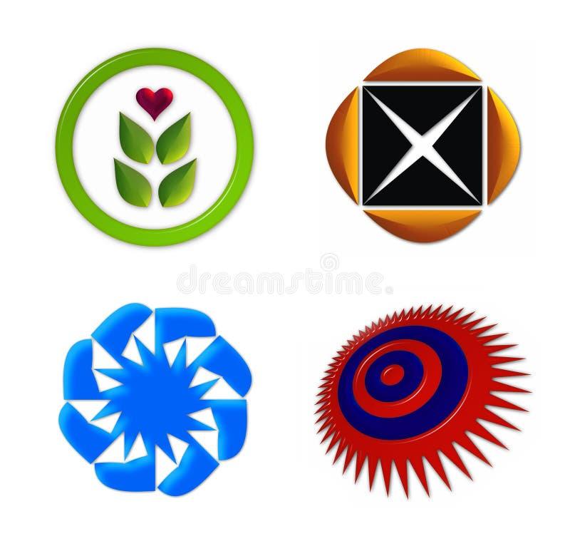 El icono de la insignia fijó 1 ilustración del vector
