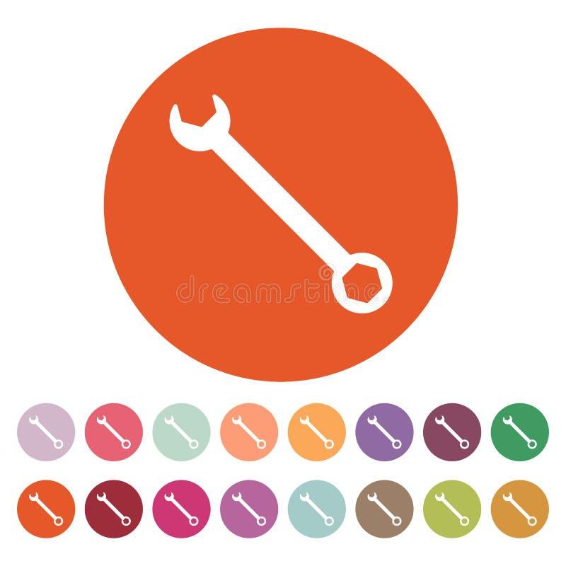 El icono de la llave Símbolo de los ajustes plano libre illustration