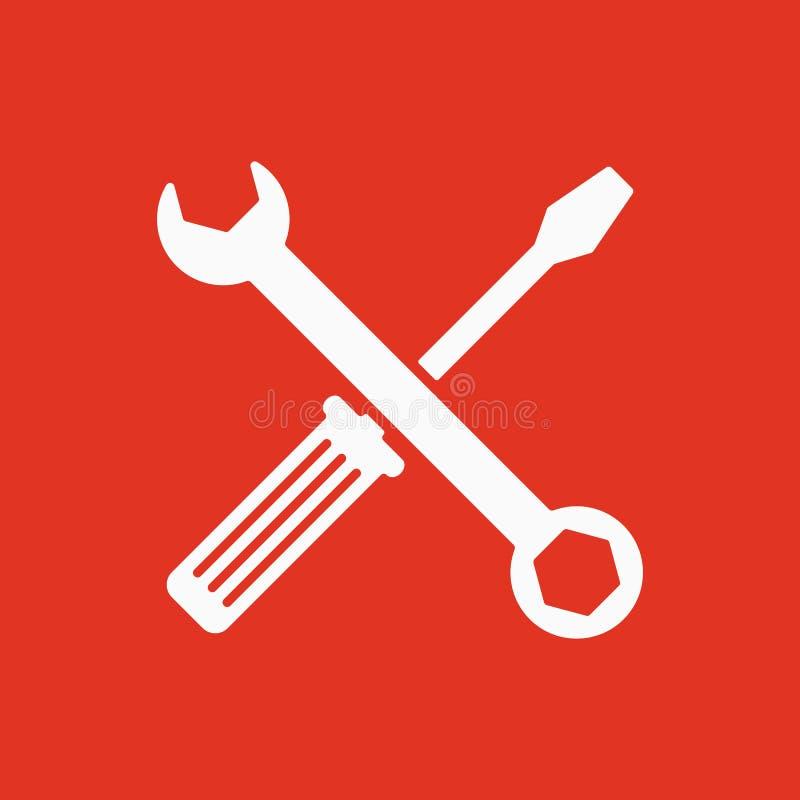 El icono de la llave y del destornillador Símbolo de los ajustes libre illustration