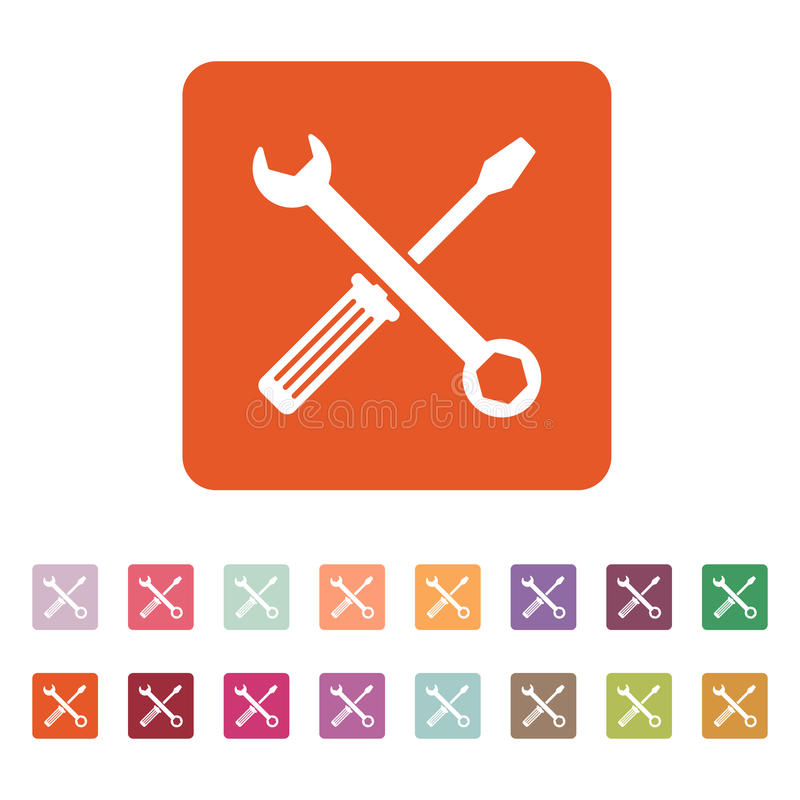 El icono de la llave y del destornillador Símbolo de los ajustes stock de ilustración