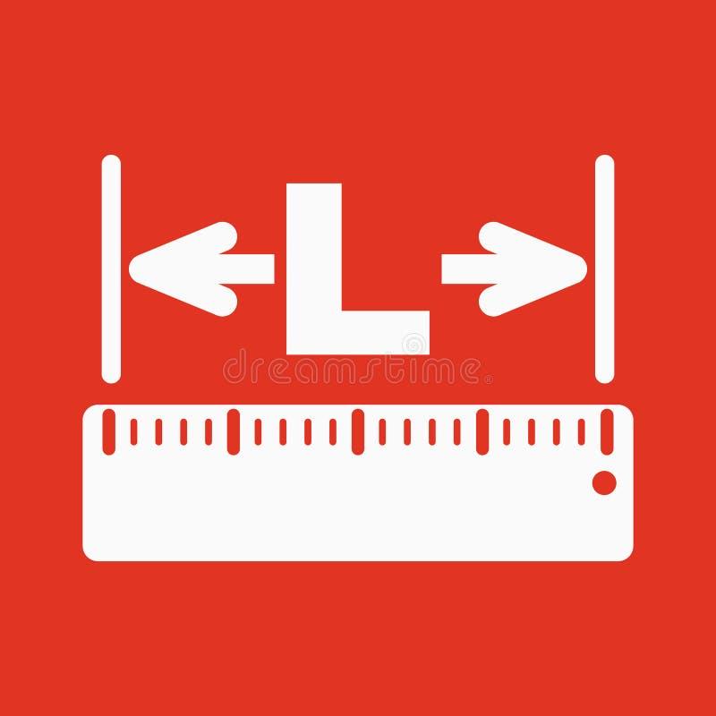 El icono de la longitud Longitud, yardas, símbolo del lgth plano stock de ilustración