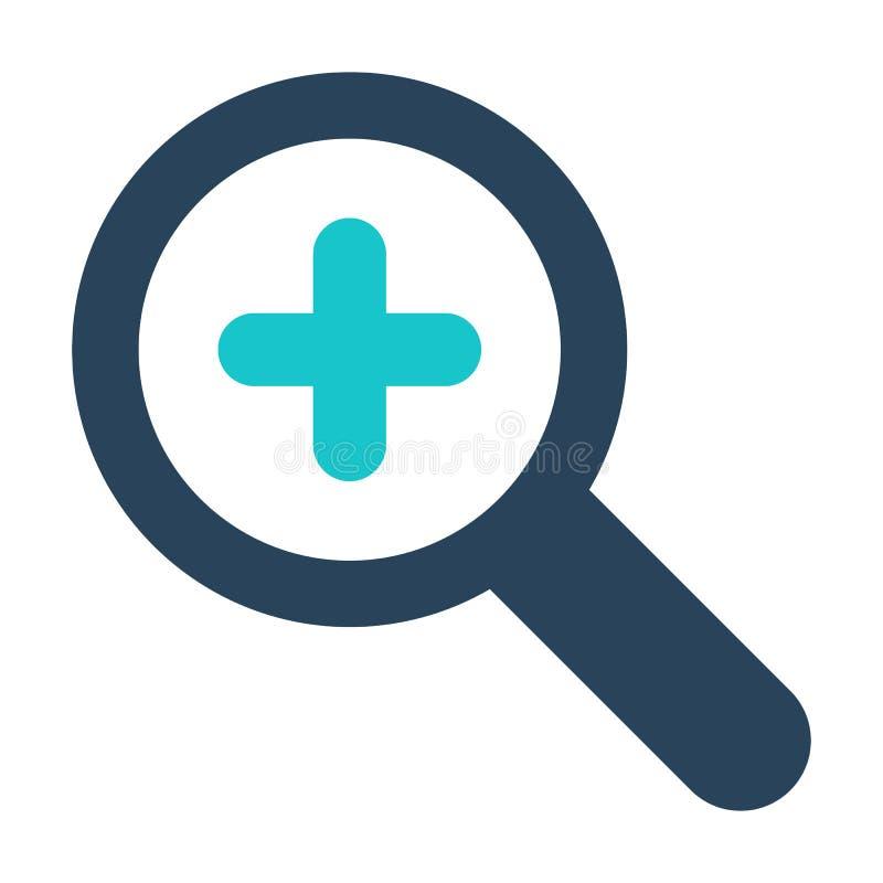 El icono de la lupa con añade la muestra Icono de la lupa y nuevo, más, positivo símbolo stock de ilustración