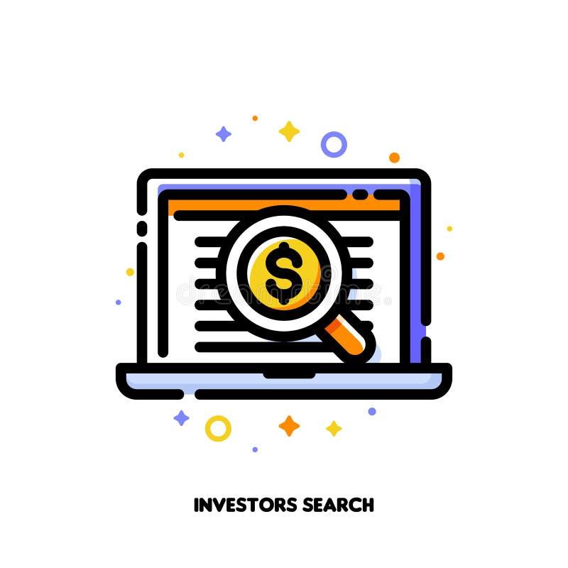 El icono de la lupa y los inversores enumeran para el concepto de la búsqueda del ángel del negocio Estilo llenado plano del esqu ilustración del vector