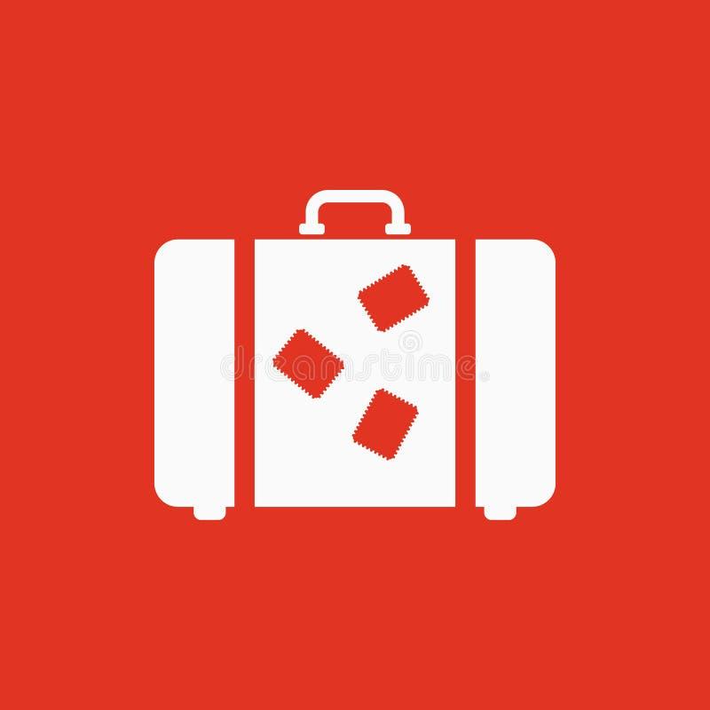 El icono de la maleta Símbolo del equipaje plano ilustración del vector
