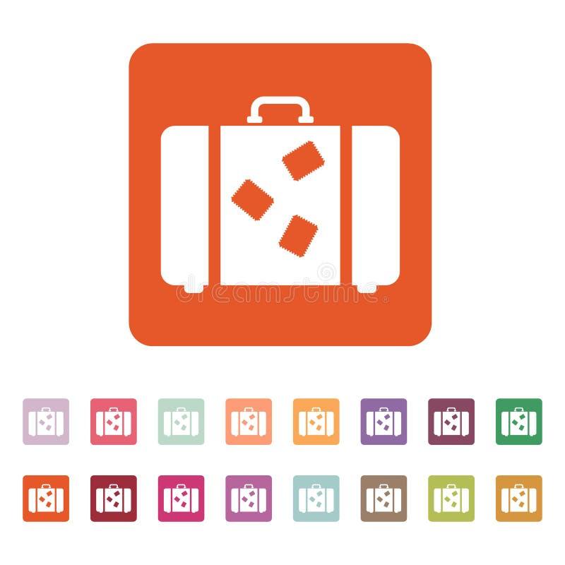 El icono de la maleta Símbolo del equipaje plano libre illustration