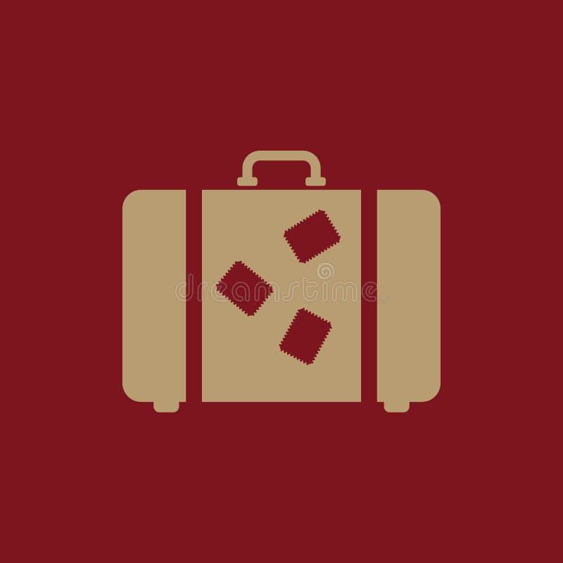 El icono de la maleta Símbolo del equipaje plano stock de ilustración