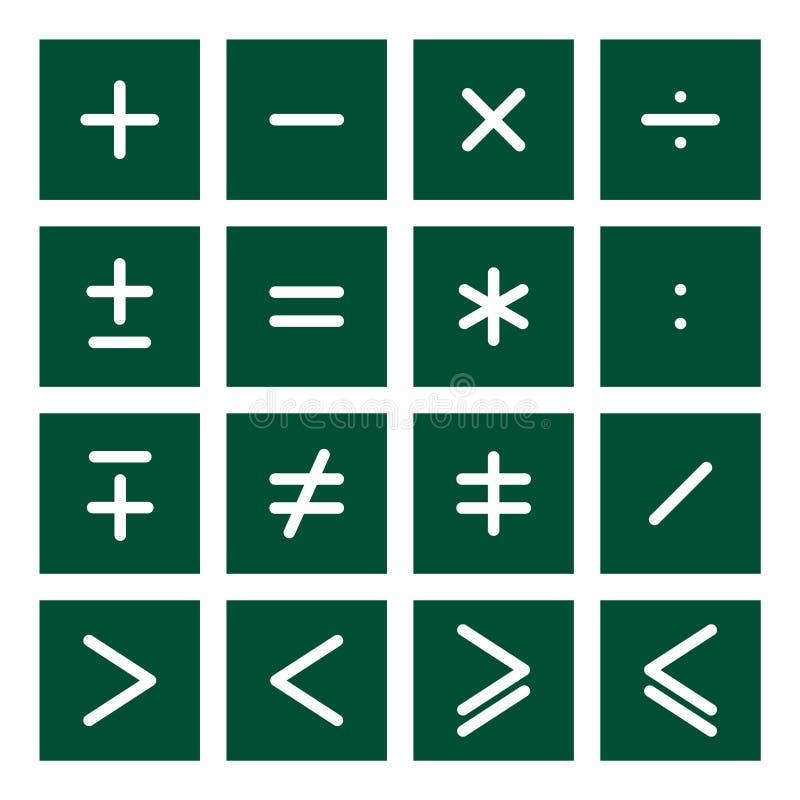 El icono de la matemáticas fijó 2 ilustración del vector
